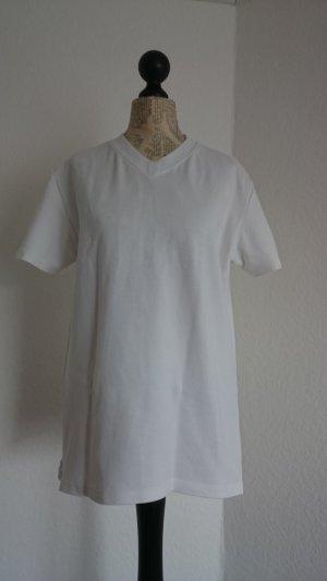 Trigema T-shirt col en V blanc coton