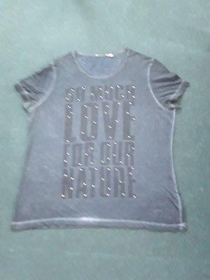 T Shirt dunkelblau mit Schrift uns silber Steine Größe XL