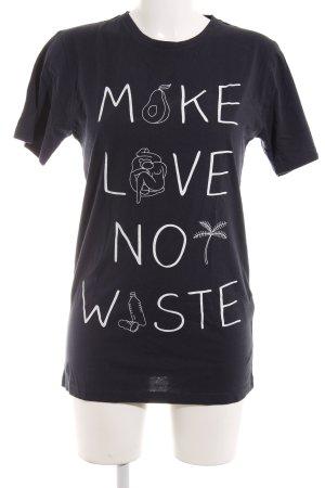 T-Shirt dunkelblau Schriftzug gedruckt Casual-Look