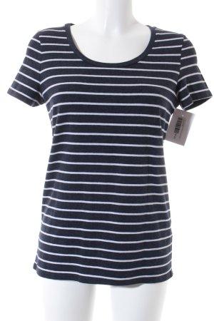 T-Shirt dunkelblau-weiß Streifenmuster klassischer Stil