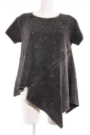 T-shirt gris foncé-noir style décontracté