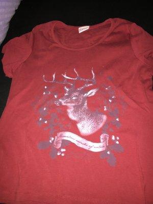 T-Shirt dunkelrot mit Print