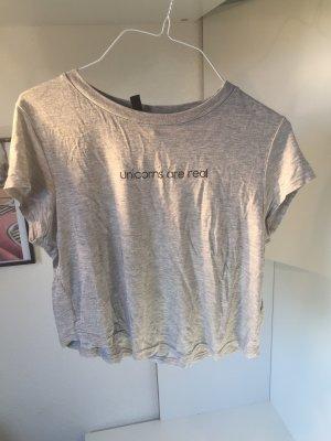 H&M Cropped shirt grijs-zwart