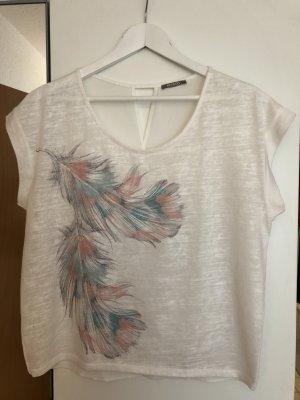 T-Shirt Federn weiß-bunt mit schönem Rücken