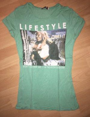 T-Shirt Fishbone grün, bunt in Größe M