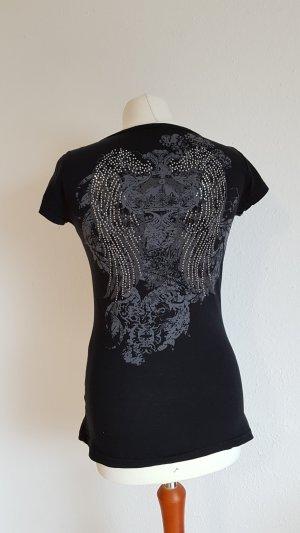 Camiseta negro-color plata