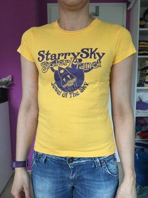 T-Shirt Gelb mit Aufdruck Gr 34