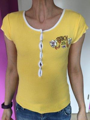 T-Shirt Gelb mit Aufdruck Gr S