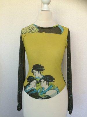 T-Shirt gelb-oliv-blau mit Druck, Gr. 36