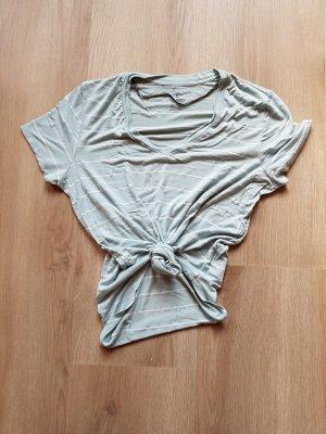 T-Shirt gestreift mintgrün bauchfrei zum Knoten oversized