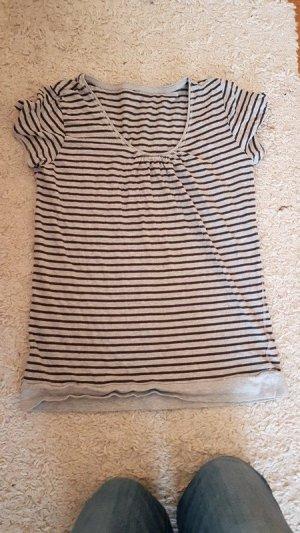 T-Shirt Gr. L grau/schwarz gestreift