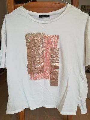 Zara T-shirt blanc-bronze