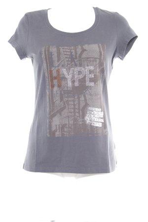 T-Shirt grau-graubraun Motivdruck Casual-Look