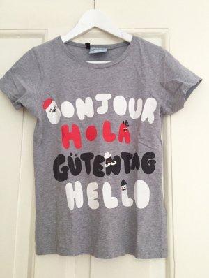 T-Shirt grau LAZY OAF Bonjour Hola Guten Tag Hello – S