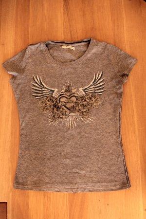 T-Shirt grau mit Glitzer-Print / Casual Look