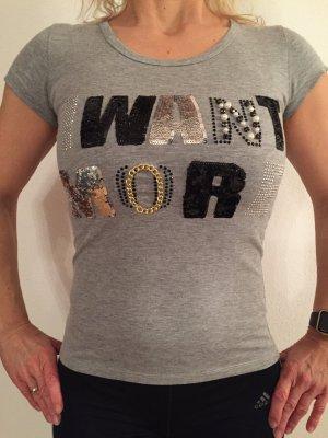 T-Shirt grau mit Perlen-Schriftzug Größe S
