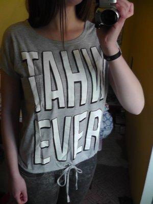 T-Shirt grau mit weißem WHATEVER Aufdruck und kleiner brusttasche XS New Yorker