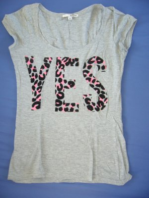 "T-Shirt grau Print ""YES"" im Leomuster pink Tally XS 34"