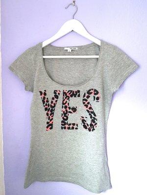 T-Shirt Grau Schwarz Pink Leopardenprint Gr. M