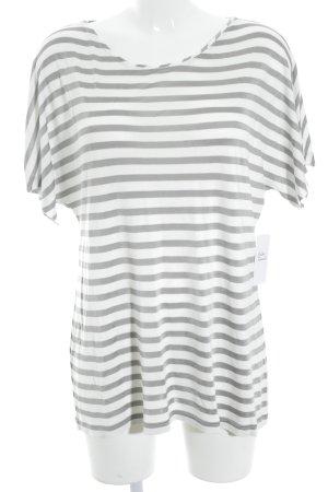 T-Shirt grau-weiß Streifenmuster Casual-Look