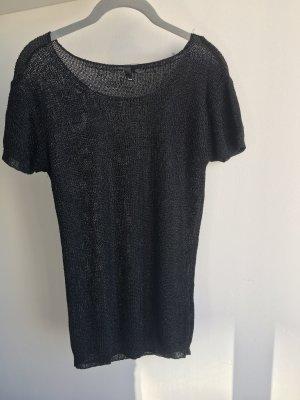 H&M Camisa tejida negro-color plata