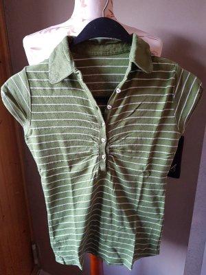 T-Shirt grün gestreift mit Kragen und Knopfleiste