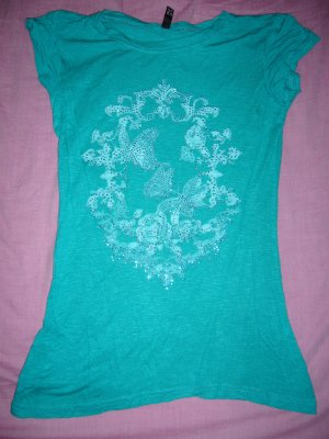 T-Shirt grün silberne Glitzerapplikation Amisu XS 34