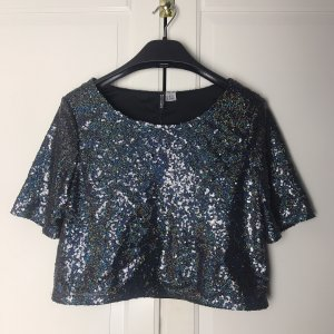 H&M Cropped Shirt silver-colored-black