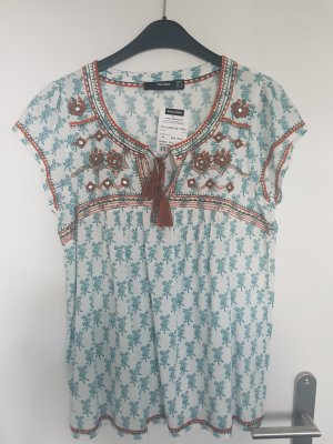 T-Shirt Hallhuber Ethno Türkis/Braun 34