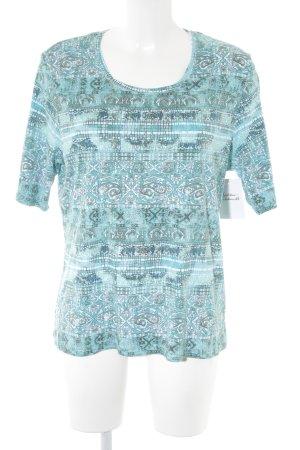 Camiseta azul claro Mezcla de patrones look casual
