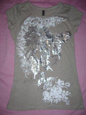 T-Shirt hellbraun mit weiß/silberfarbenem Druck 100 % Baumwolle Amisu XS 34