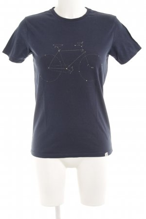 T-Shirt pale yellow-dark blue themed print simple style
