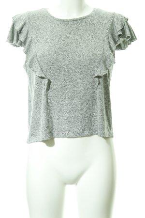 T-Shirt hellgrau-grau meliert schlichter Stil