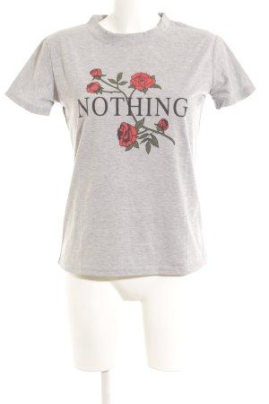 T-shirt gris clair imprimé avec thème style athlétique