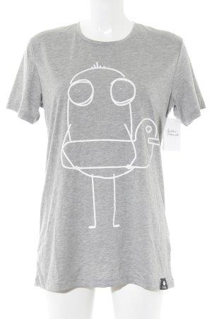 T-Shirt hellgrau-weiß platzierter Druck Casual-Look