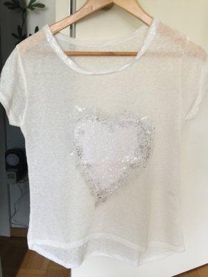 T-Shirt Herz Paillettenverzierung Leinengemisch S