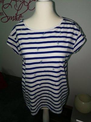 T-Shirt in blau weiß gestreift und Flamingos der Marke EDC in der Größe L