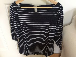 T- Shirt in blau/weiß mit langen Ärmeln
