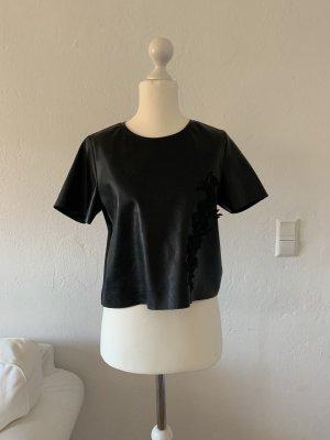 T-Shirt in Kunstleder Optik