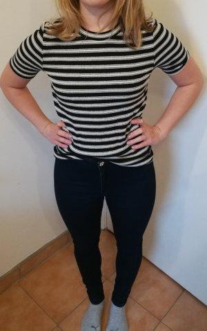 H&M Camisa acanalada negro-blanco