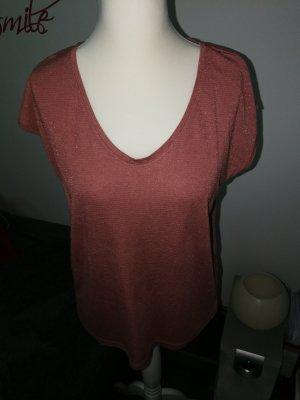 T-Shirt in rosefarben mit Glitzergarn gestreift der Marke Pieces und der Größe XL