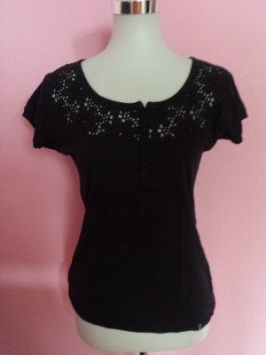 T-Shirt in schwarz mit  Blumenrand (K3)