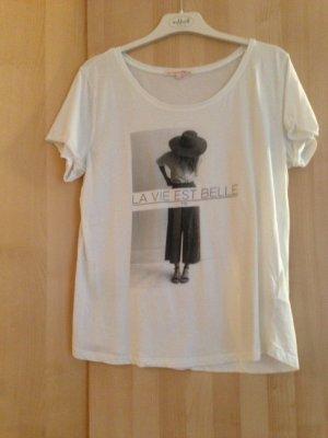 T-Shirt in weiss mit Print von Tom Tailor