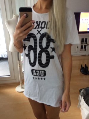 Oversized Shirt white-black