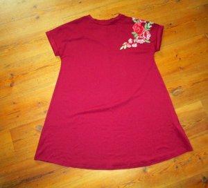 T-Shirt-Kleid mit Blumen Shirtkleid dunkelrot L neu Blumenstickerei