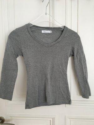 T-Shirt langarm grau von ZARA