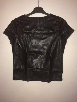 Zara T-shirt noir faux cuir