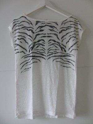 T-Shirt Leinen mit schwarzen Streifen