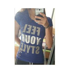 T-shirt lila blau mit Aufschrift