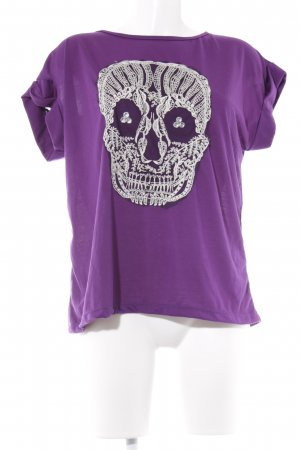 T-Shirt lila grafisches Muster Casual-Look